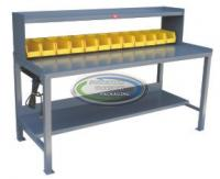 Stationary work bench 30 x 72 with riser, power strip and 12 bins